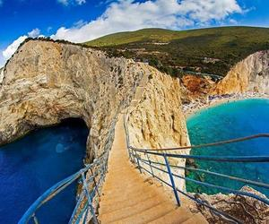 beach, Greece, and stairs image