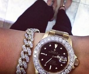 watch, rolex, and diamond image