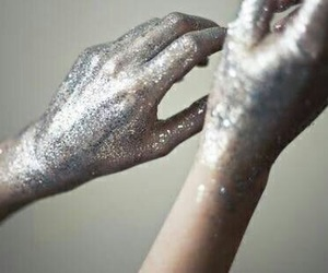 hands, glitter, and silver image