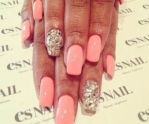 glitter, pink nails, and nail art image