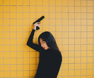 yellow, gun, and aesthetic image