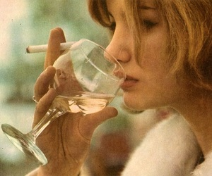 wine, cigarette, and girl image