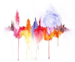 watercolor, london, and art image