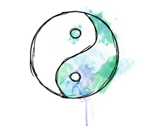 blue, ying yang, and art image