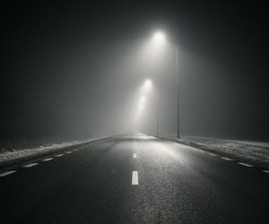 alone, lights, and road image