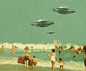 beach, alien, and vintage image