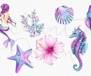 mermaid, art, and purple image