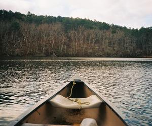 canoe, fall, and lake image