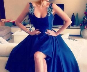 backless prom dress, high low prom dress, and royal blue prom dress image