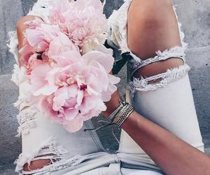 flowers, jeans, and pink image