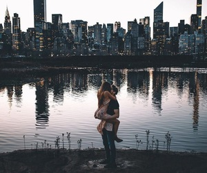 city, couple, and goals image