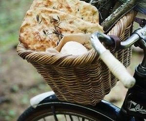 food, bike, and bread image