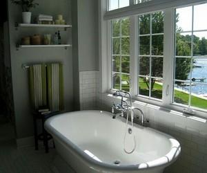 bathroom, clawfoot bathtub, and home decor image
