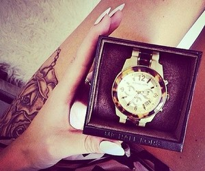 watch, tattoo, and nails image