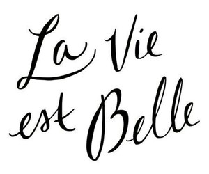 black&white, la vie est belle, and text image