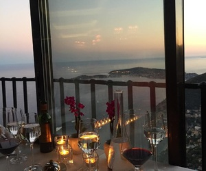 dinner, view, and wine image