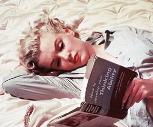 Marilyn Monroe, book, and reading image
