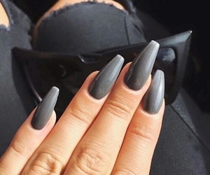 nails, grey, and black image