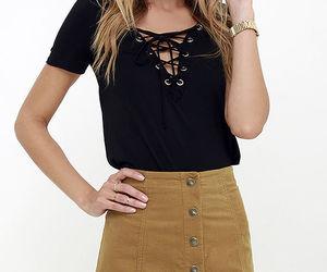 black top, fashion, and skirt image