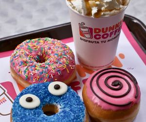 donuts, food, and dunkin coffee image