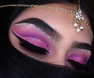 makeup, glitter, and eyebrows image