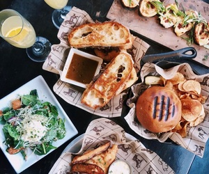 food, salad, and burger image