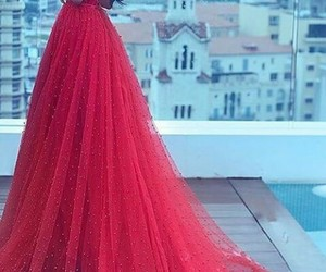beautiful, fashion, and red gown image