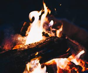 camp, fire, and wood image