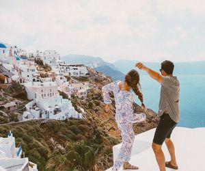 couple, Greece, and travel image