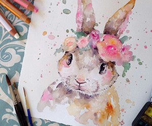 art, rabbit, and drawing image