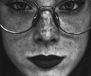 alternative, black and white, and freckles image
