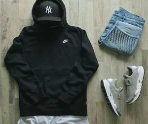 black, hoody, and shoes image