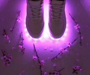 purple, shoes, and flowers image