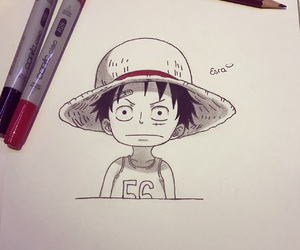 kid, one piece, and monkez d luffy image