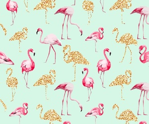wallpaper, flamingo, and gold image