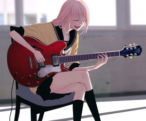 guitar, pink hair, and vocaloid image
