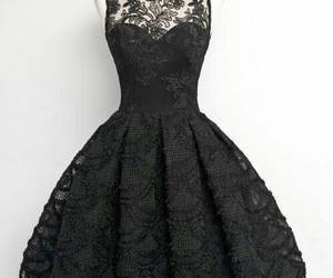 black, encaje, and dress image