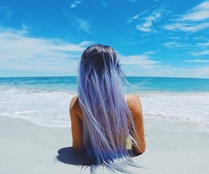 beach, blue, and hair image