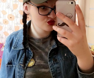 fake, mood, and glasses image
