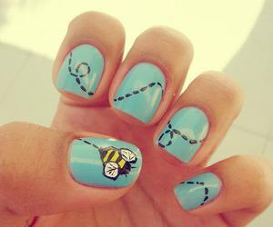 nails, bee, and blue image