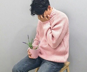 boy, plants, and pink image
