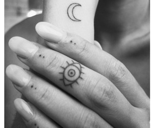 tattoo, moon, and eye image