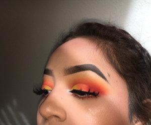 eyebrows, makeup, and orange image