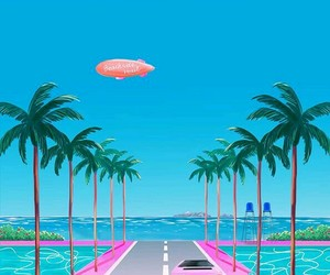 background, palms, and pink image