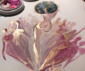 art, pink, and gold image