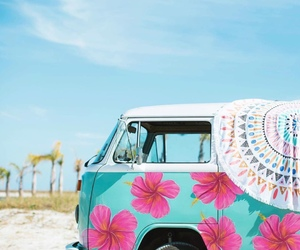beach, flowers, and hippie image