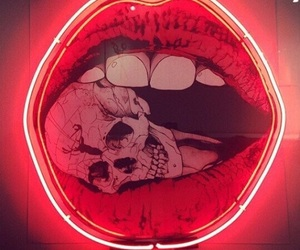 lips, red, and skull image