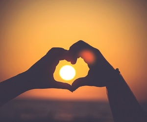 heart, sun, and sunset image