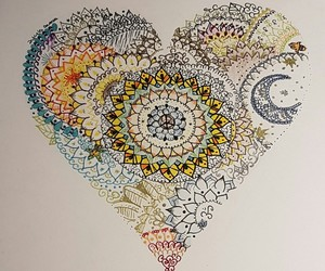 art, color, and heart image