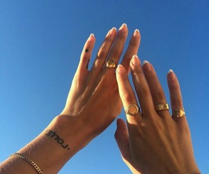 nails, tattoo, and sky image